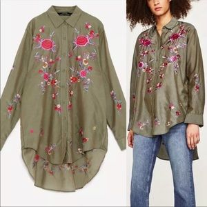 Zara Mulberry Embroidered Tunic Top